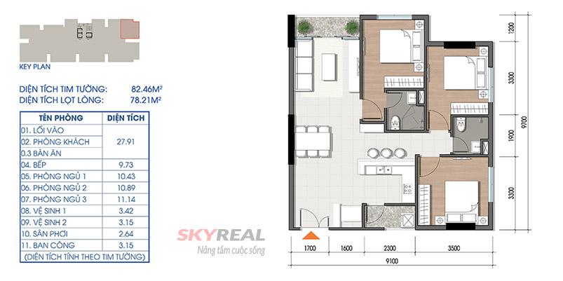thiết kế căn hộ cara riverview 82m2