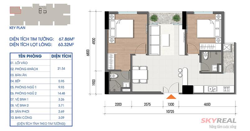 thiết kế căn hộ cara riverview quận 8 diện tích 67m2