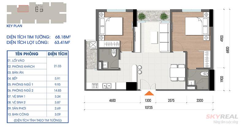 thiết kế căn hộ cara riverview diện tích 68m2
