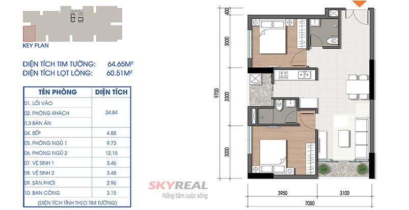 thiết kế căn hộ cara riverview 64m2