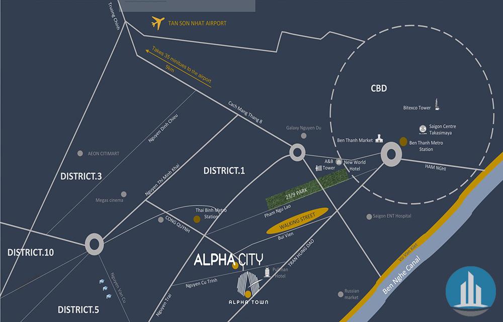 Vị trí Alpha City Quận 1