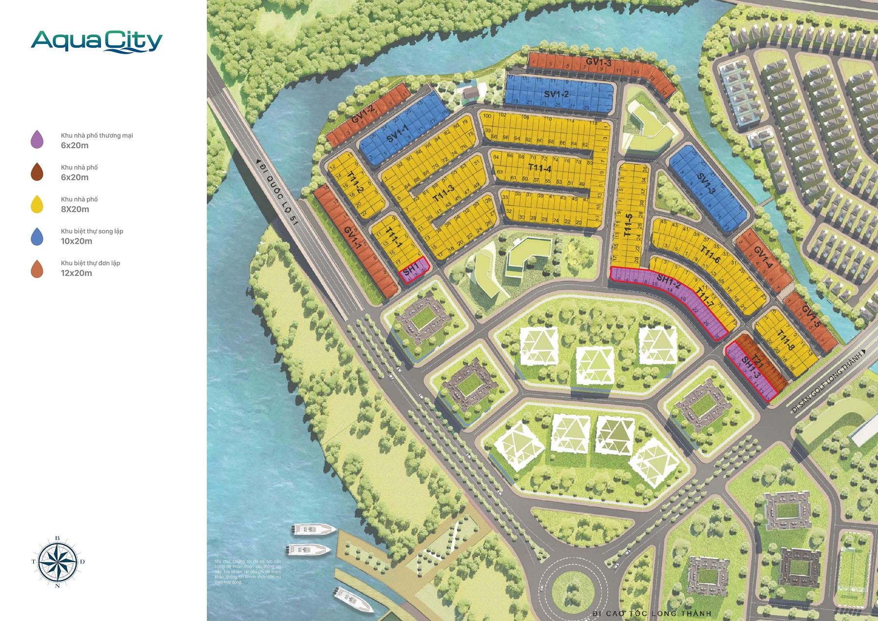 Mặt bằng dự án và Shophouse Aqua City Novaland phân khu The Suite Dự án Aqua City