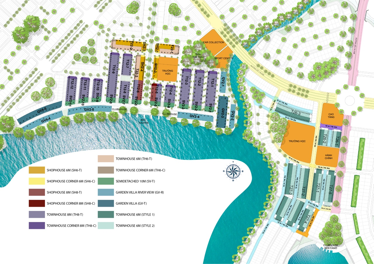 Mặt bằng các căn Shophouse màu vàng và cam tại phân khu The Elite của dự án Aqua City