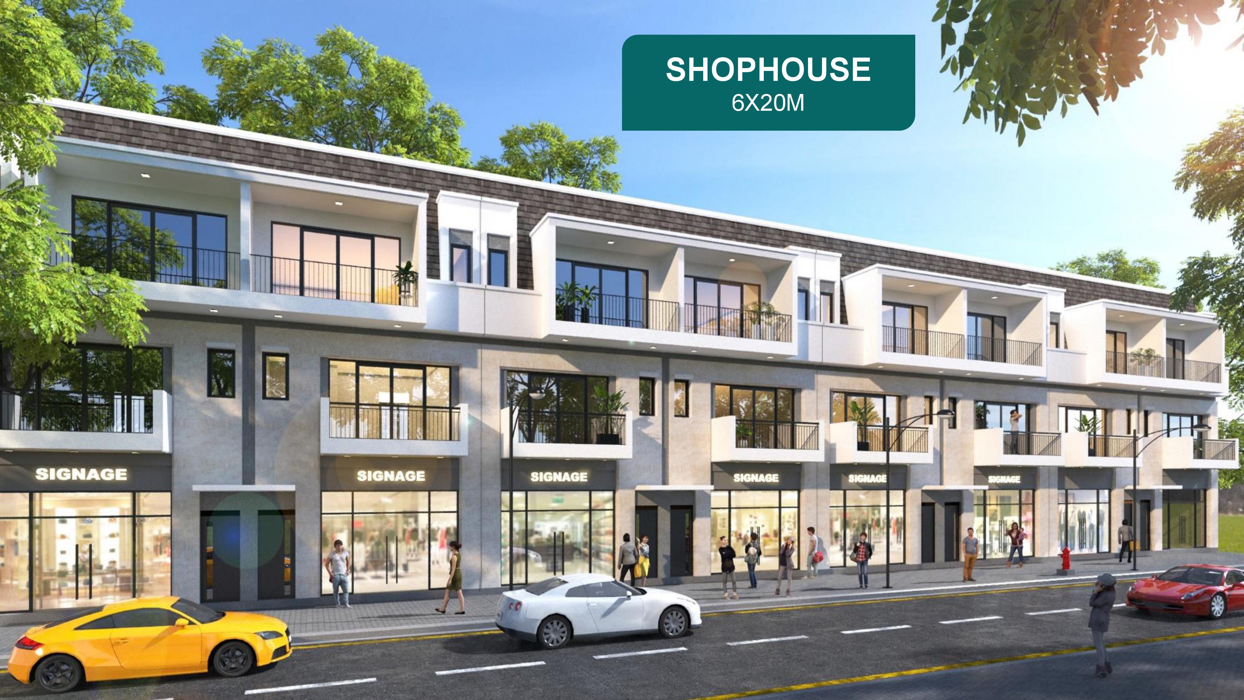 Mặt bằng các căn Shophouse màu vàng và cam tại phân khu The Elite dự án Aqua City