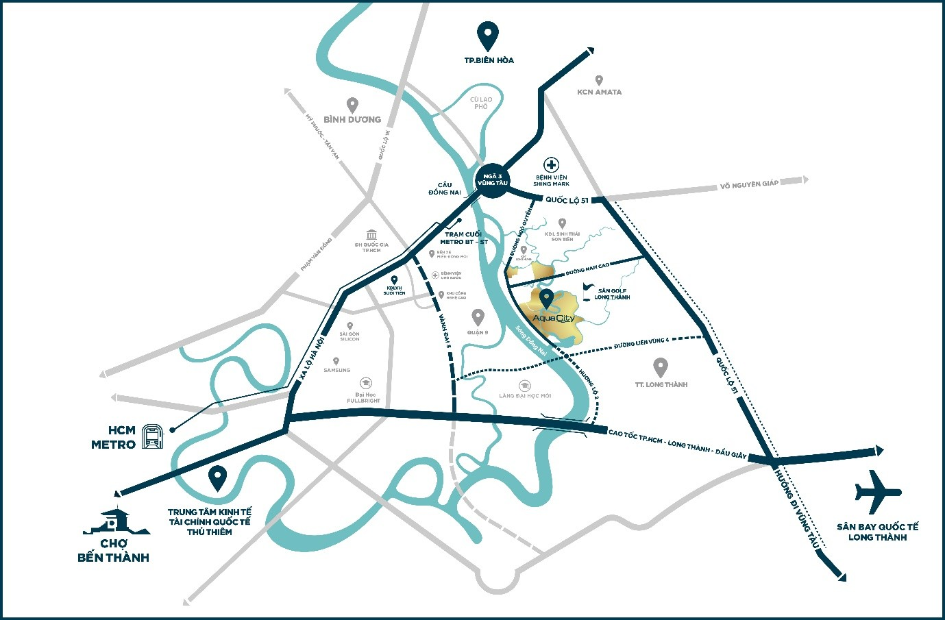 VỊ trí đắc địa của Khu River Park 1 Dự án Aqua City