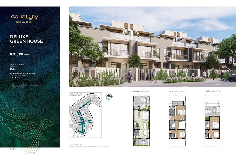 Mặt bằng Nhà phố 6.5m×20m tại City đảo Phụng Hoàng