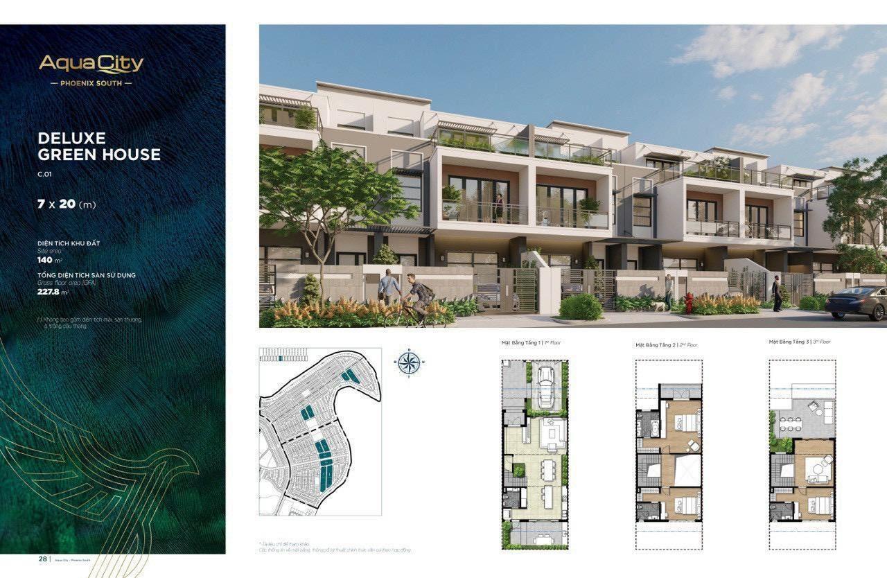 Mặt bằng Nhà phố 7m×20m tại City đảo Phụng Hoàng