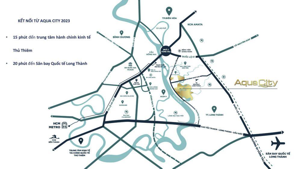 Kết nối giao thông dự án Aqua City đảo Phụng Hoàng năm 2023