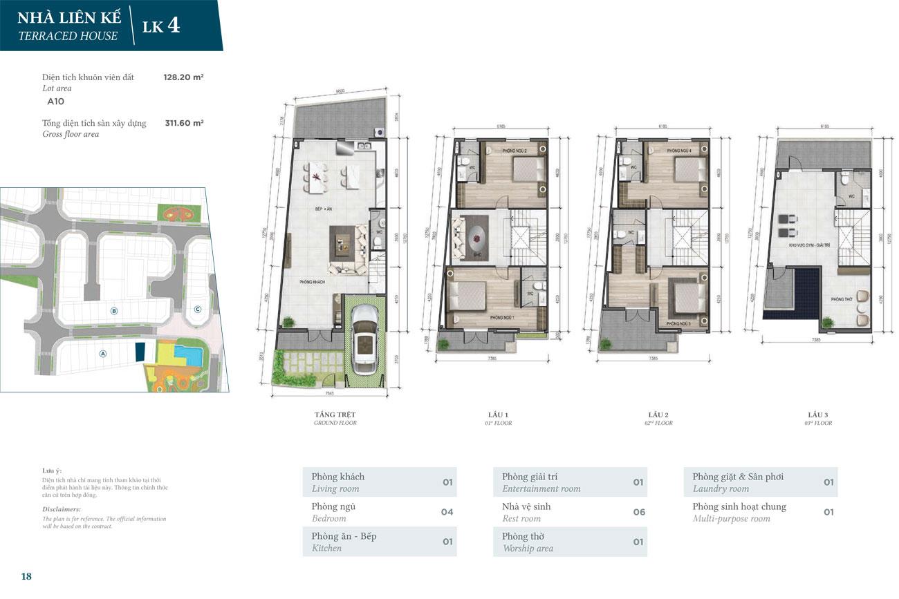 Thiết kế căn hộ Liên Kế dự án Verosa Park Khang Điền