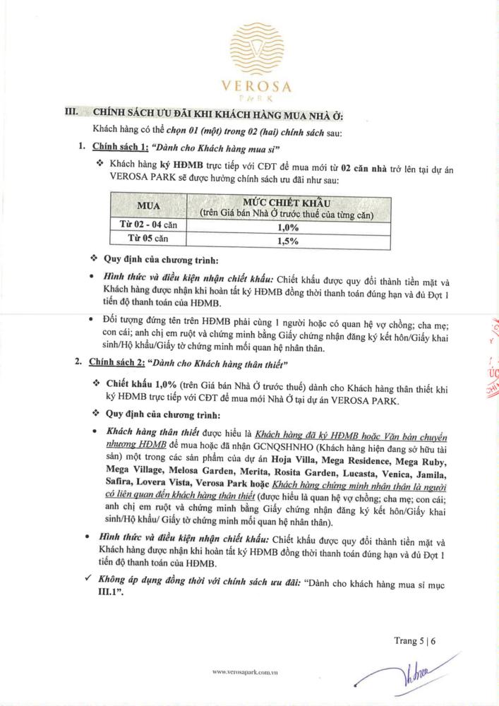 Chính sách thanh toán mới nhất dự án Verosa Park Khang Điền cập nhật từ cđt
