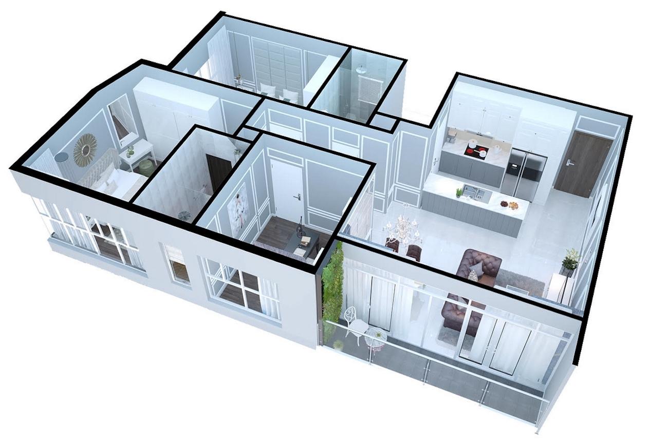 Thiết kế dự án căn hộ 3 Phòng ngủ chung cư Thủ Thiêm Dragon Quận 2 Đường Quách Giai chủ đầu tư Thủ Thiêm Group