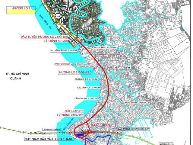 vị trí cầu Vàm Cái Sứt và tuyến Hương lộ 2 - một trong những trục kết nối quan trọng giữa Đồng Nai với đô thị lớn nhất cả nước là TP.HCM