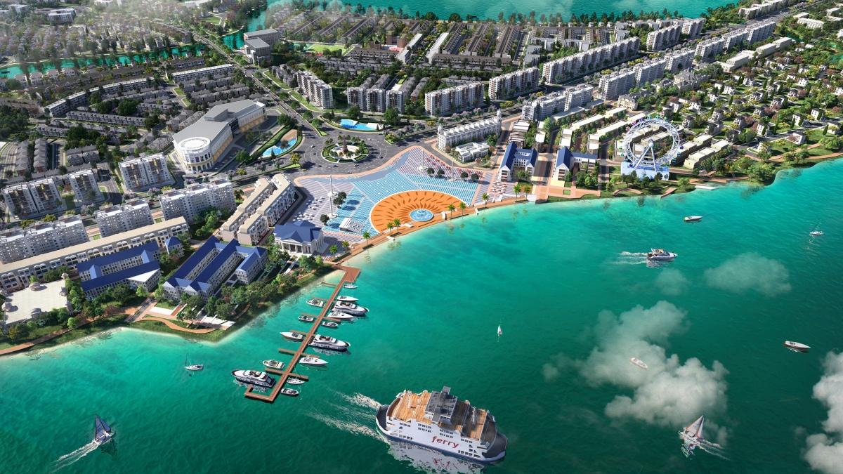 Đô thị sinh thái thông minh Aqua City với quỹ đất rộng lớn cùng lợi thế sông nước bao quanh tạo điều kiện để phát triển nhà vườn ven sông.