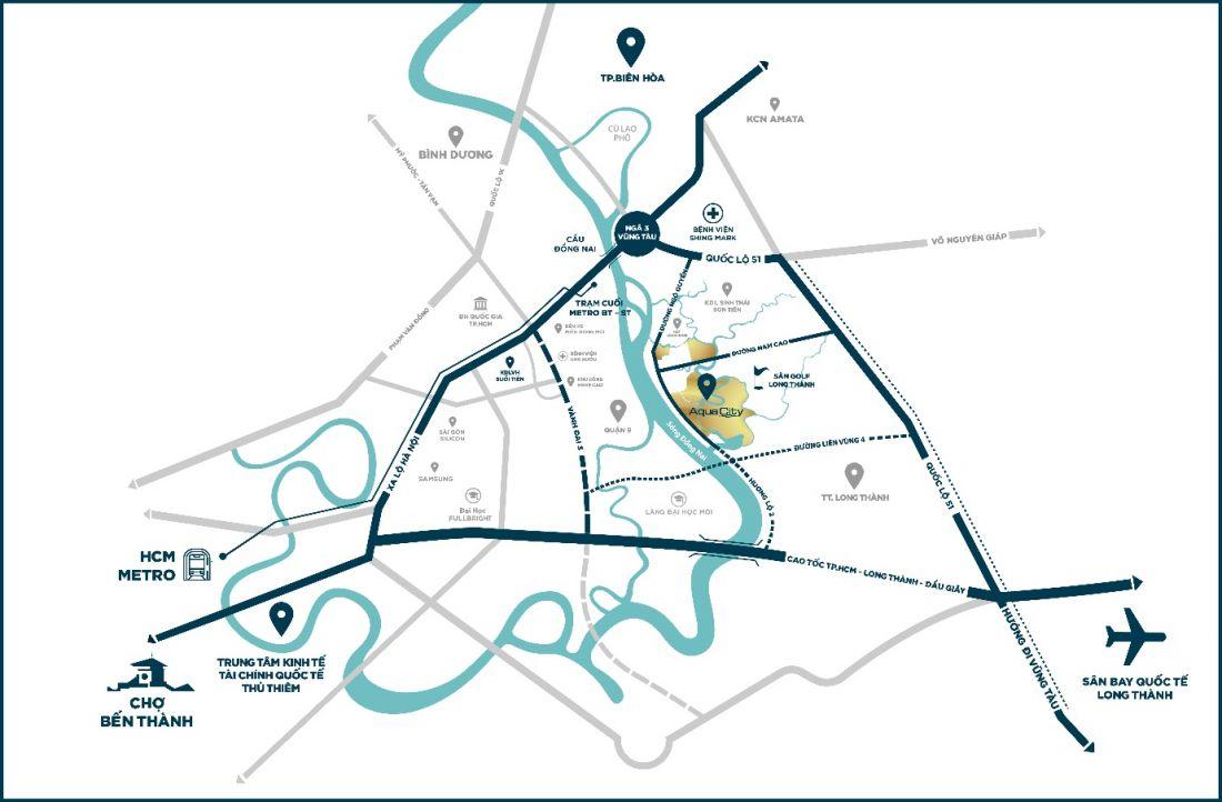 Từ phân khu River Park 1 của Aqua City, cư dân chỉ mất khoảng 20 phút để di chuyển vềtrung tâm TP.HCMhay sân bay Long Thànhkhi hạ tầng giao thông hoàn thiện