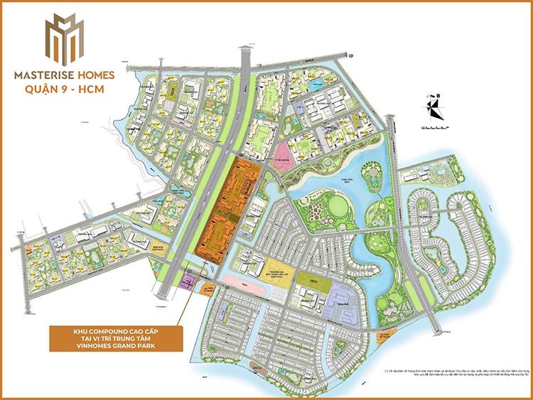 Dự án Masteri Centre Point toạ lạc tại vị trí trung tâm của đại đô thị Vinhomes Grand Park