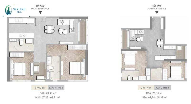 Căn hộ 2PN Masterise Homes (loại 5-6).