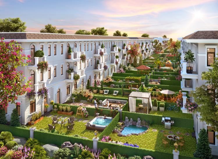 Nhà phố Ever Green 1 với khoảng sân vườn rộng 36 m2 giúp gia chủ thỏa sức sáng tạo không gian riêng tư mong muốn.