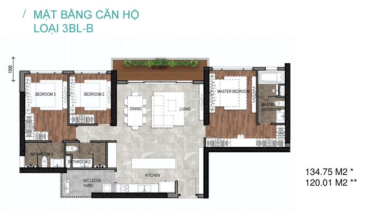 Thiết kế chi tiết các căn hộ 3 phòng ngủ tại Celesta Rise Rise Nhà Bè