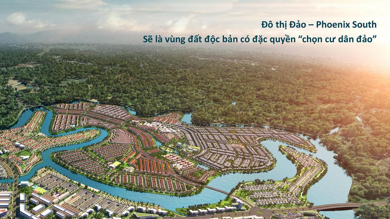 Phối cảnh tổng thể dự án nhà phố Aqua City The Phoenix South - Đảo Phượng Hoàng Đồng Nai chủ đầu tư NovaLand