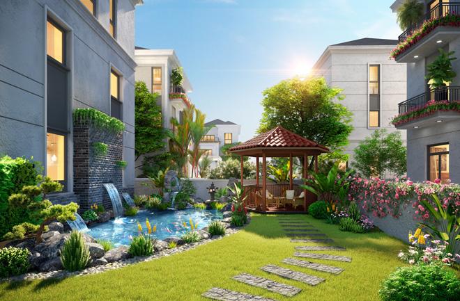 Sân vườn 36m2 tại phân khu Ever Green Aqua City cho gia chủ tự do thiết kế không gian như ý