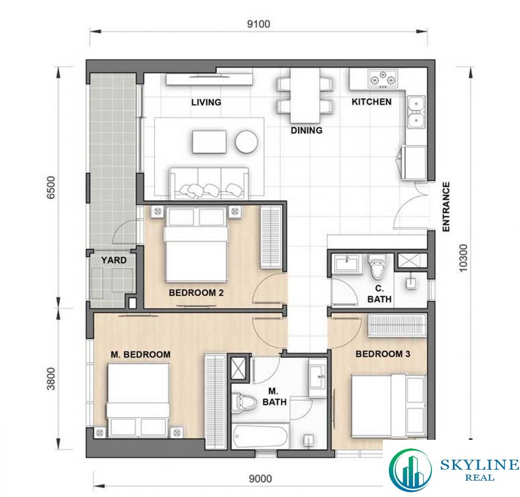 Thiết kế căn hộ The Grand Manhattan 3PN 89m2