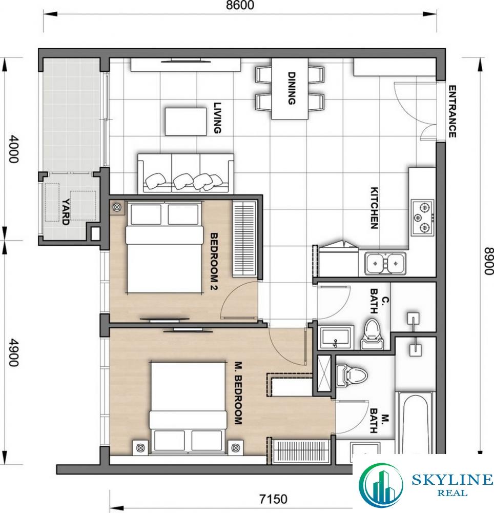 Thiết kế căn hộ The Grand Manhattan 2PN