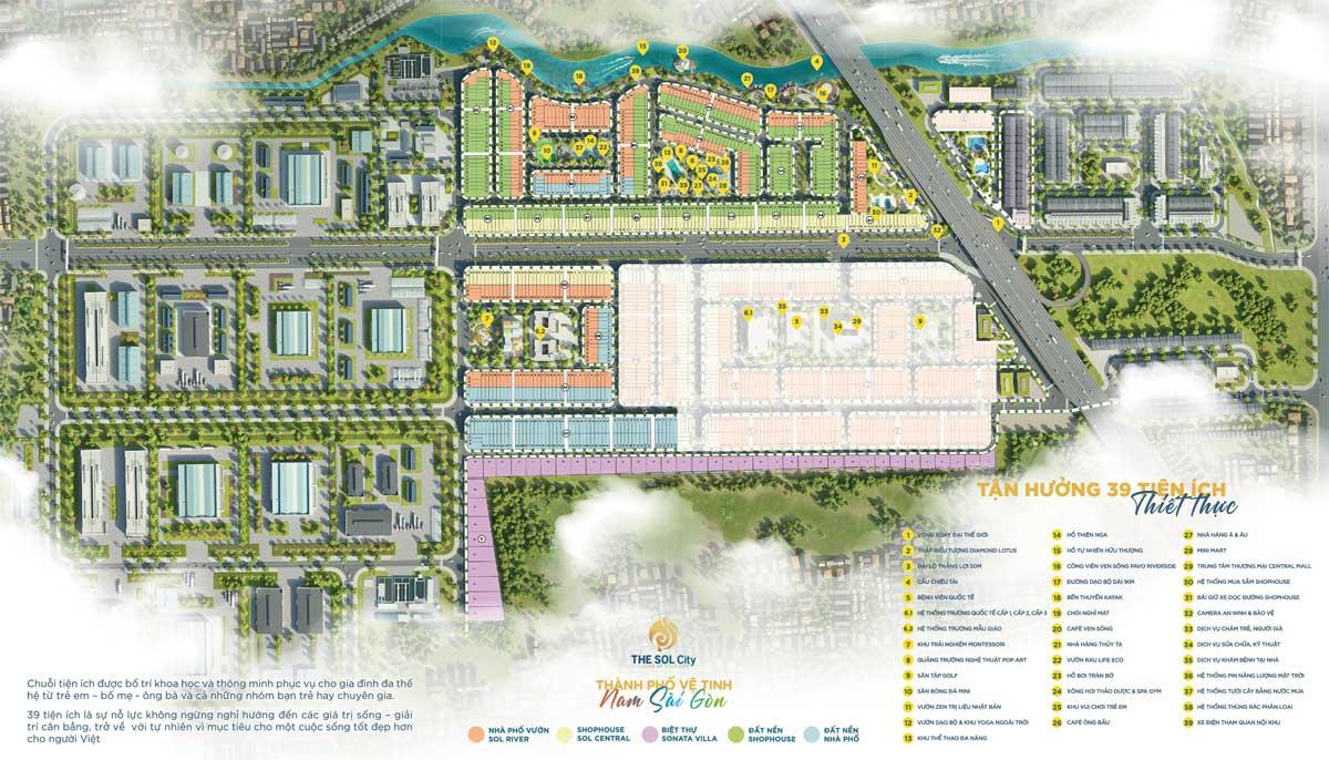 Mặt bằng tổng thể Dự án Khu đô thị The Sol City Long An chủ đầu tư Thắng Lợi
