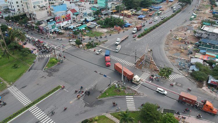 Vị trí xây dựng hầm chui nút giao Nguyễn Văn Linh - Nguyễn Hữu Thọ.