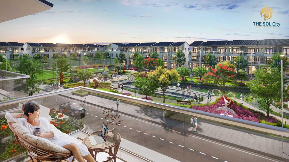 Công viên nội khu Dự án The Sol City Nam Sài Gòn chủ đầu tư Thắng Lợi