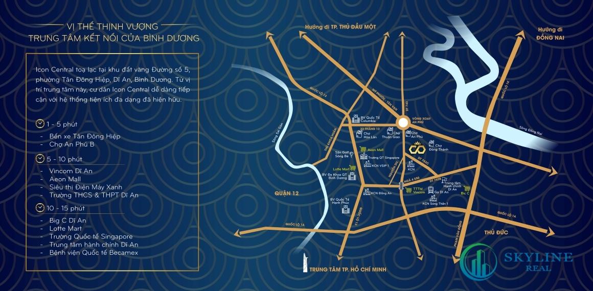 Kết nối thuận tiện của dự án Icon Plaza Bình Dương chủ đầu tư Phú Hồng Thịnh