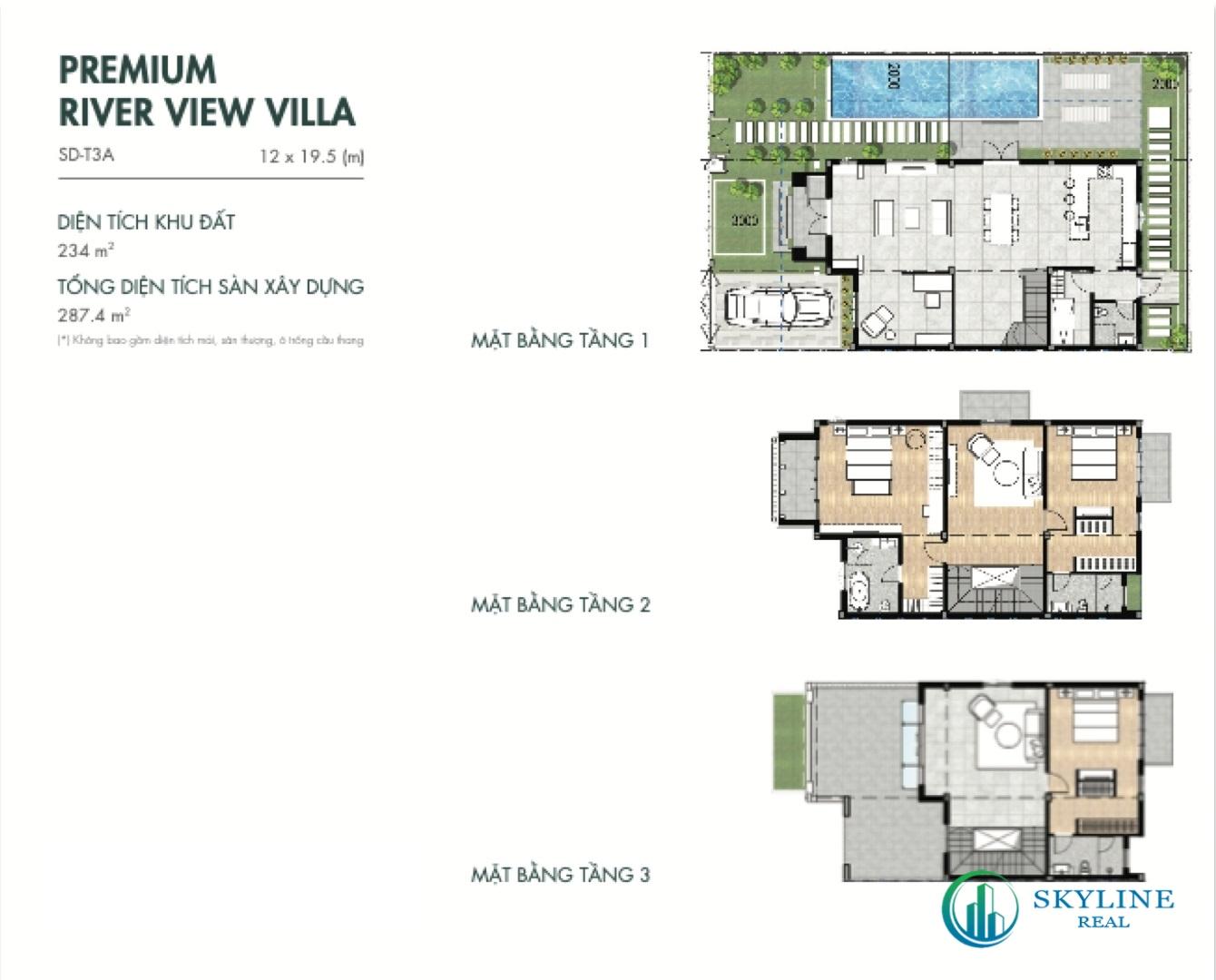 Mặt bằng Villas 12×19,5m tại Aqua City River Park