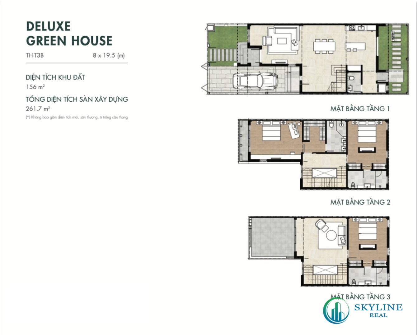 Mặt bằng Deluxe Green House 8×19,5m tại Aqua City River Park