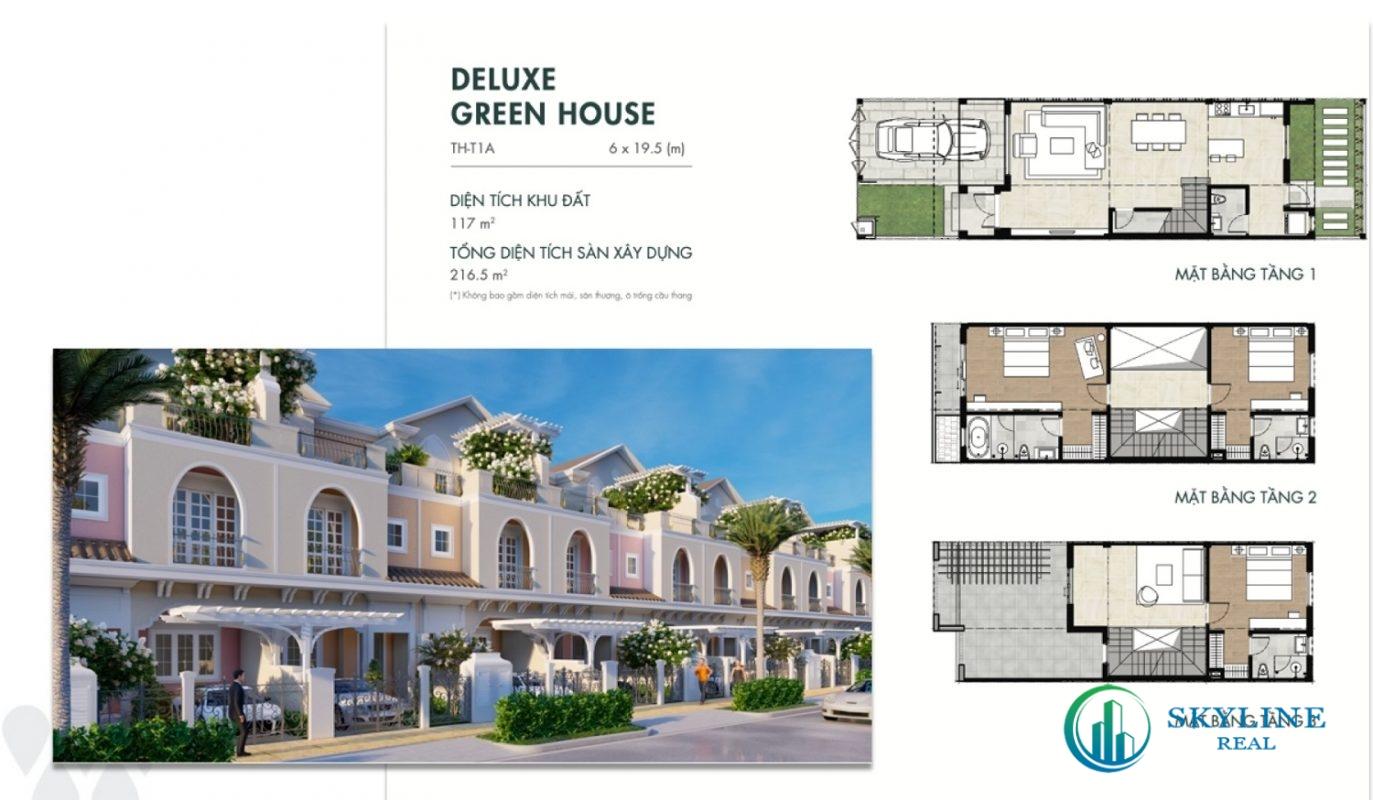 Mặt bằng Deluxe Green House 6×19,5m tại Aqua City River Park