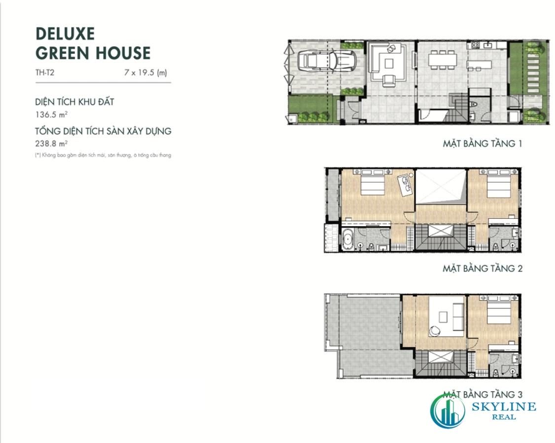 Mặt bằng Deluxe Green House 7×19,5m tại Aqua City River Park