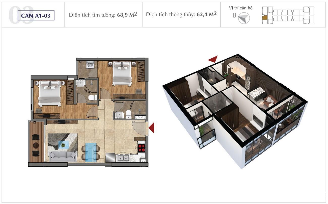 Thiết kế chi tiết căn hộ 68m2 dự án Sunshine City Sài Gòn Quận 7