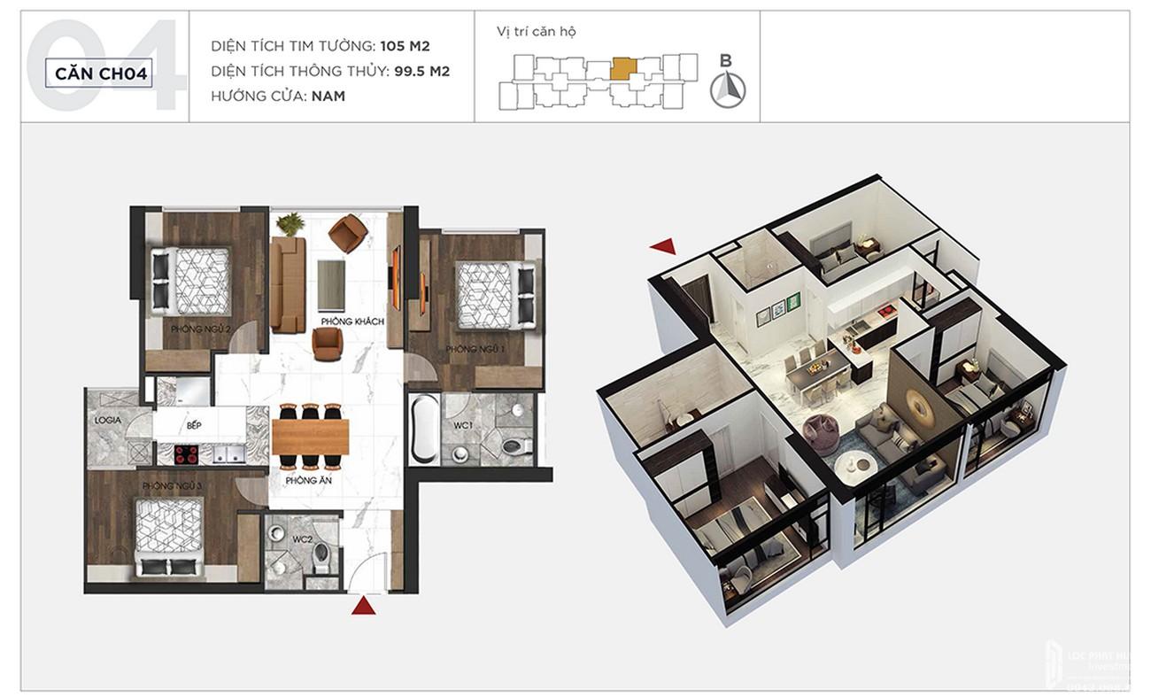 Thiết kế chi tiết căn hộ 105m2 dự án Sunshine City Sài Gòn Quận 7