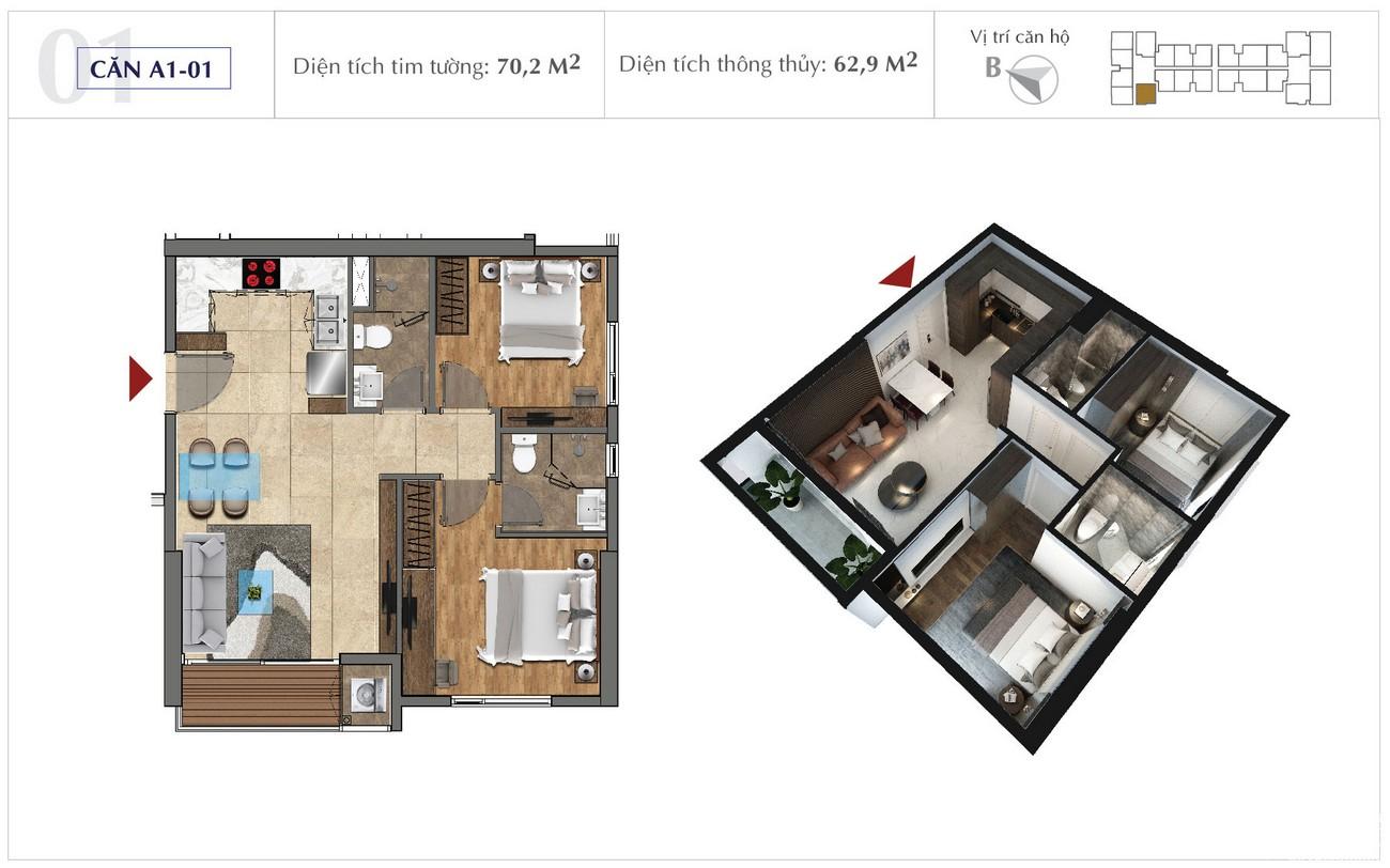 Thiết kế chi tiết căn hộ 70m2 dự án Sunshine City Sài Gòn Quận 7