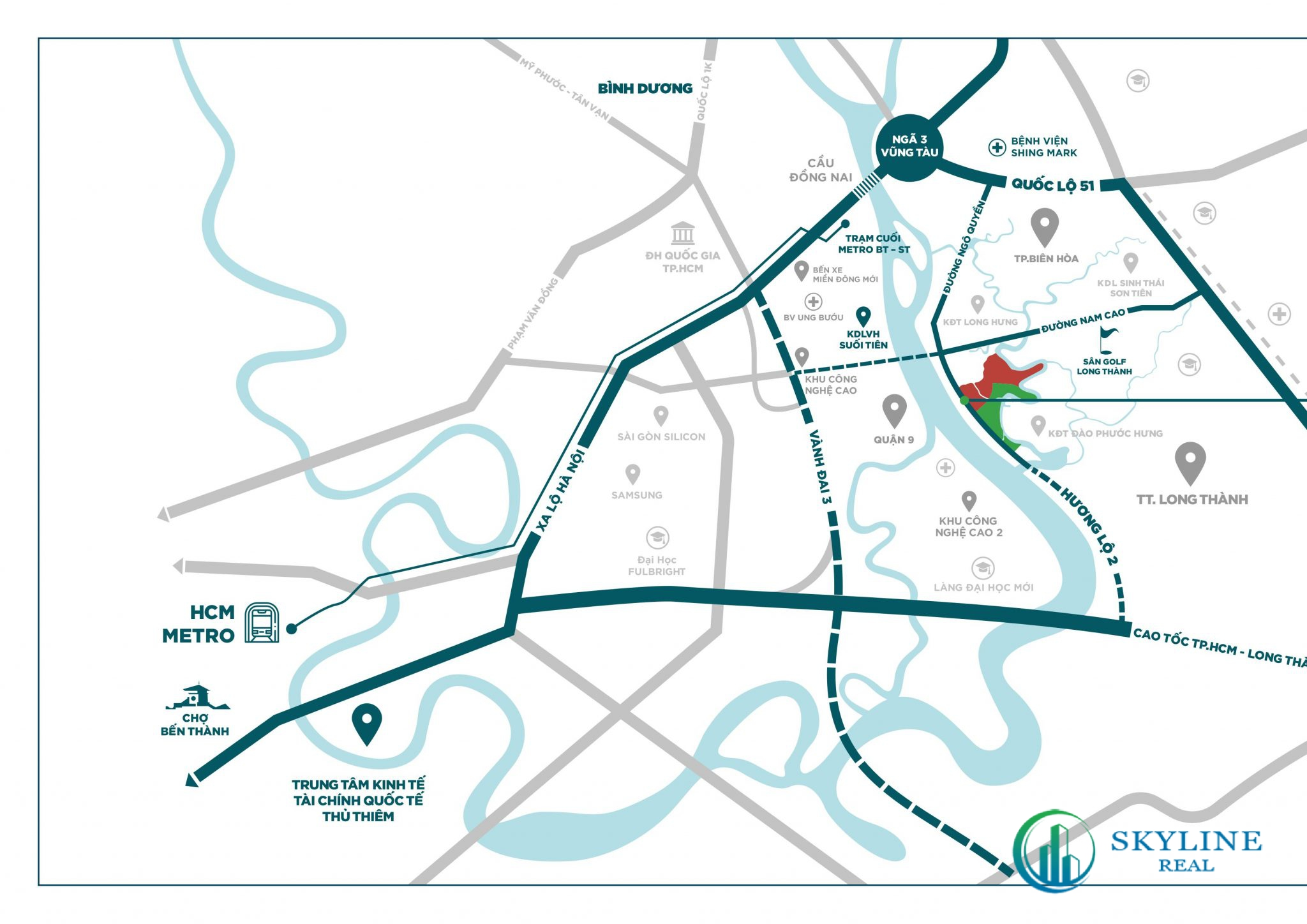 Dự án nằm trên mặt tiền Hương Lộ 2, cạnh quốc lộ 51 và cao tốc TP.HCM – Long Thành – Dầu Giây