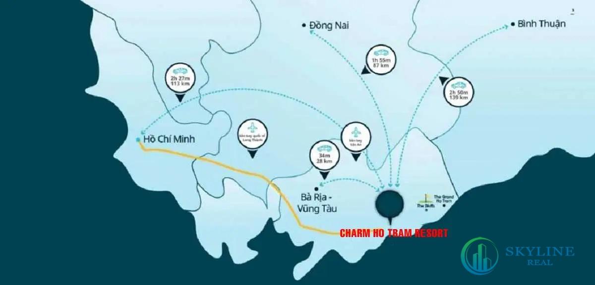 Vị trí kết nối thuận lợi của dự án Charm Hồ Tràm