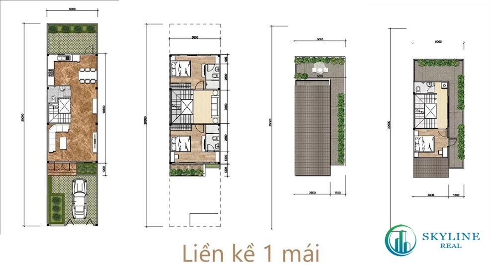Thiết kế mặt bằng nhà liền kề 1 mái