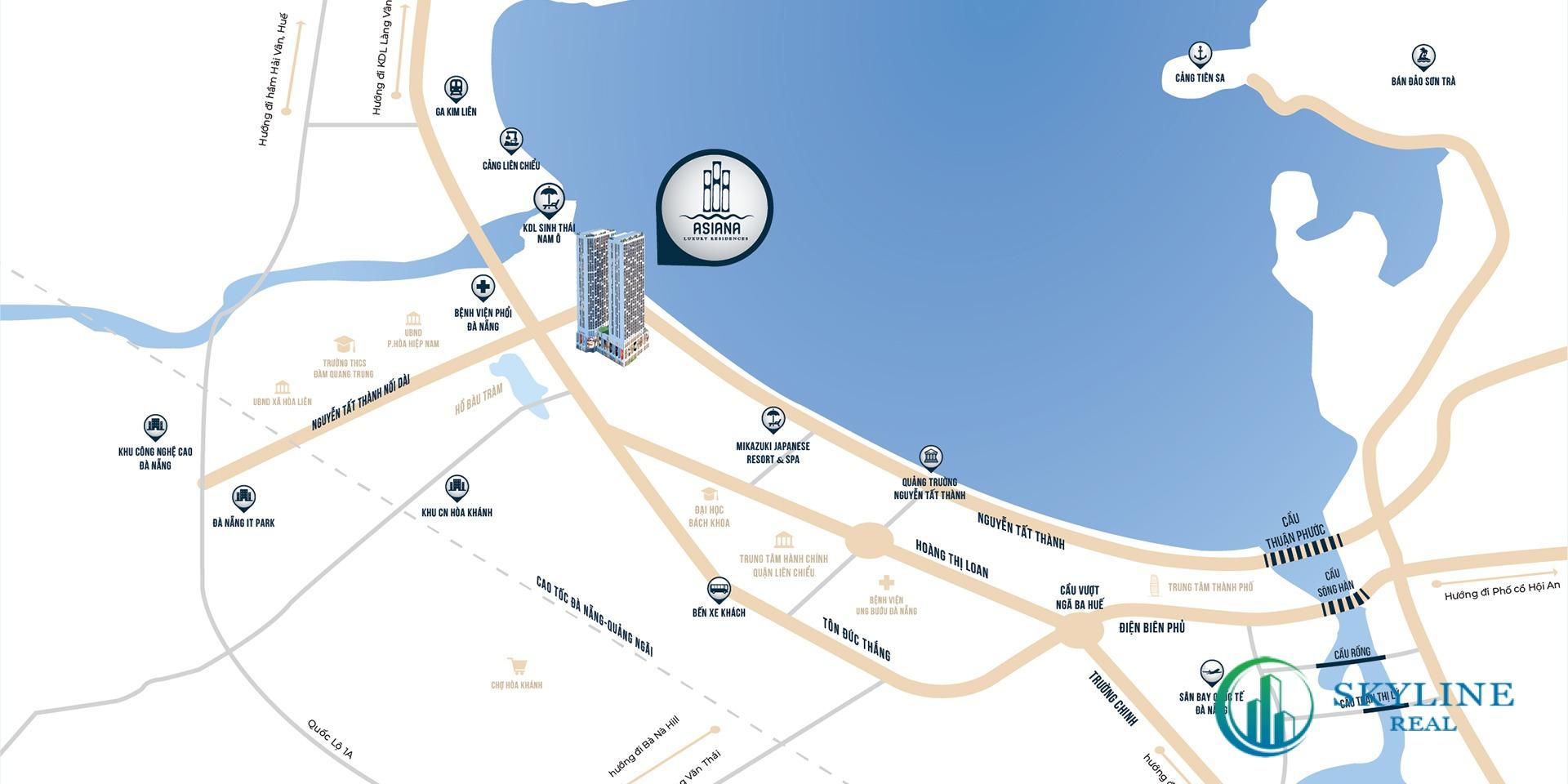 Vị trí của dự án căn hộ Asiana Đà Nẵng chủ đầu tư Gotec Land