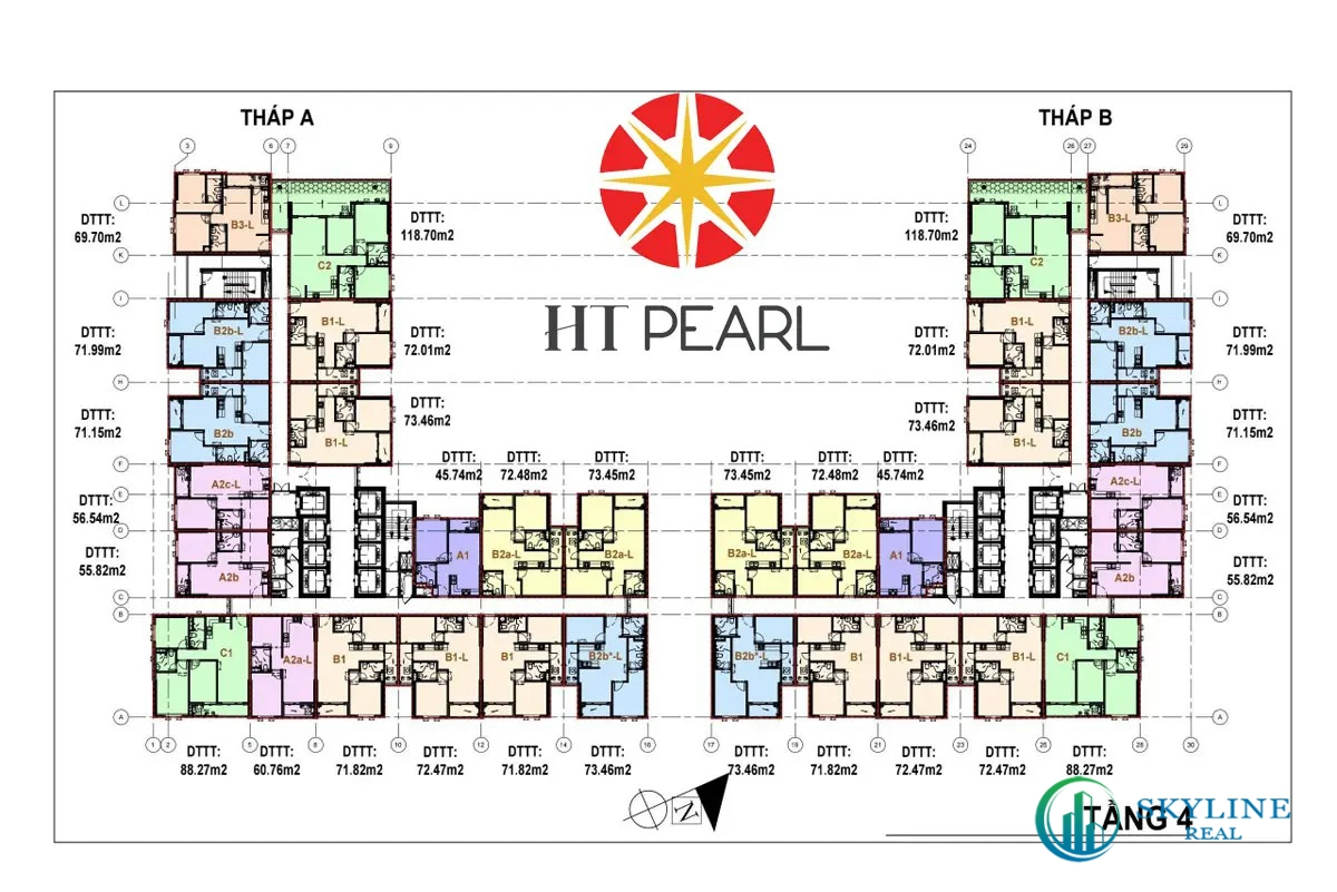 Mặt bằng tầng 4 dự án căn hộ HT Pearl Dĩ An Bình Dương