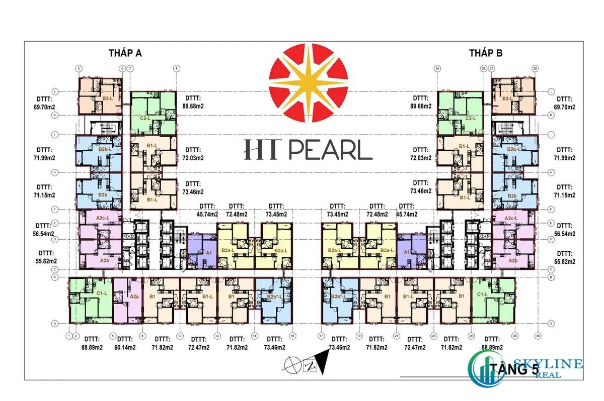 Mặt bằng tầng 5 dự án căn hộ HT Pearl Dĩ An Bình Dương
