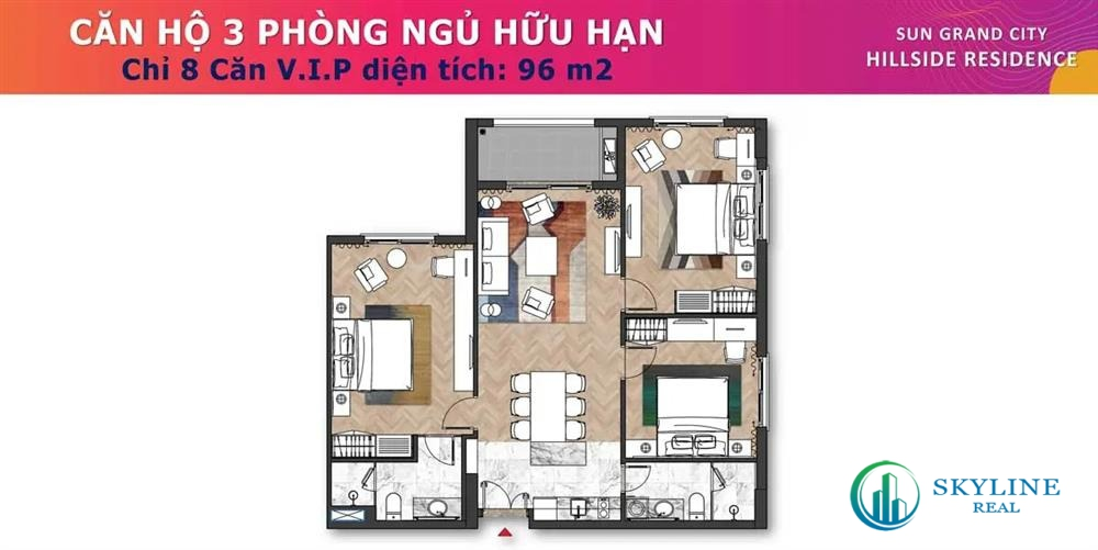 Mặt bằng căn hộ 3 phòng ngủ hữu hạn