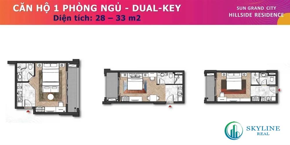 Mặt bằng căn hộ 1 phòng ngủ Dual - Key