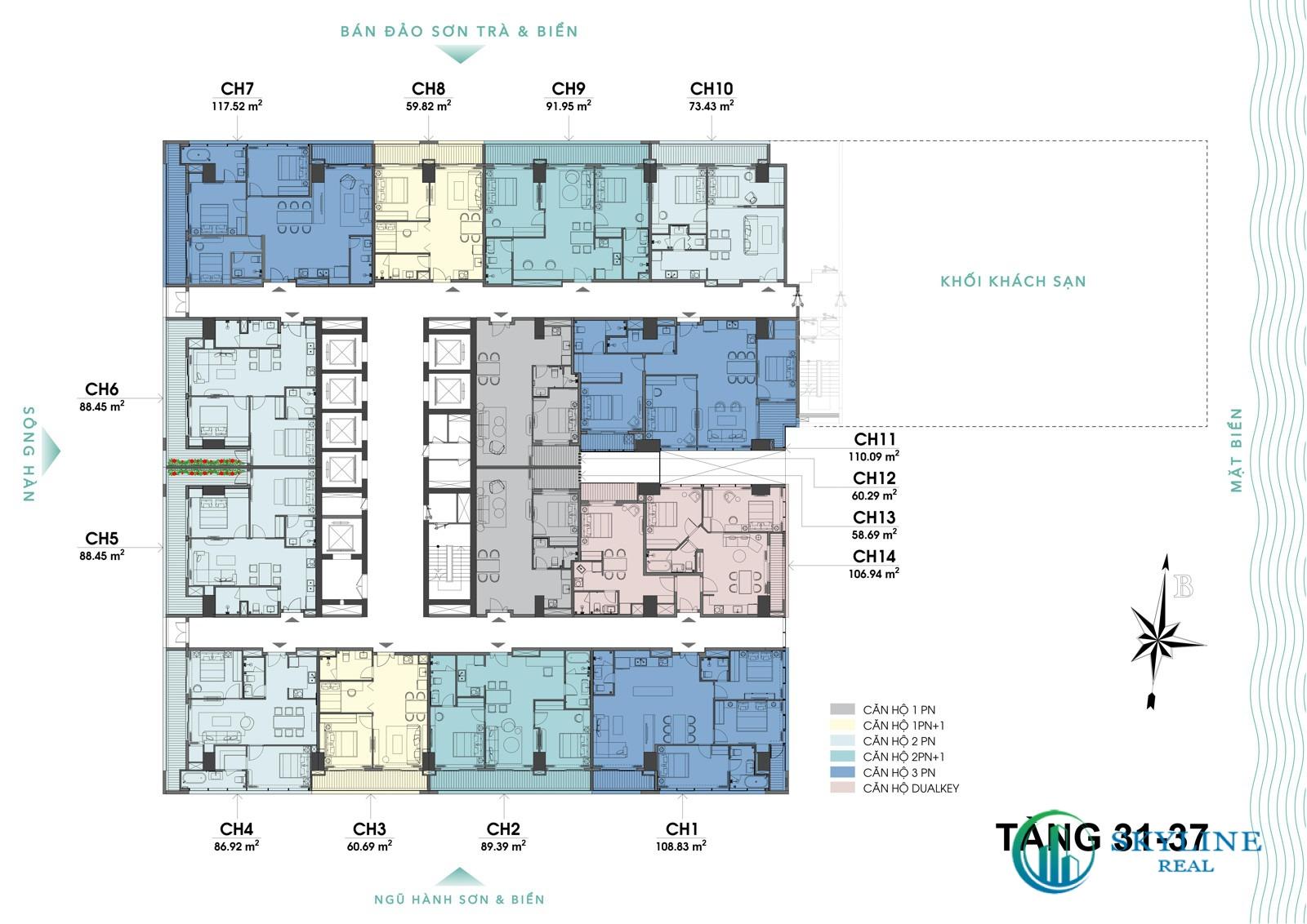 Mặt bằng tầng 31-37 dự án The 6Nature Đà Nẵng