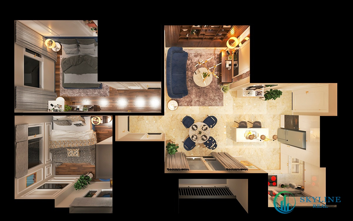 Căn hộ 2 phòng ngủ được thiết kế tối ưu không gian diện tích