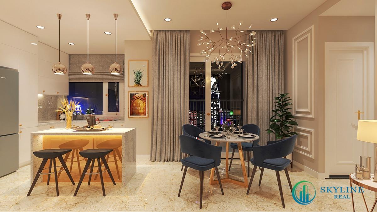 Các gam màu tinh tế hoà quyện vào nhau cho căn hộ trở nên sang trọng