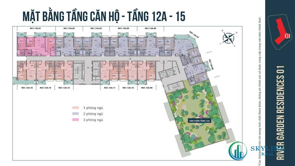 Mặt bằng Tầng 12A – 15 Căn hộ River Garden Residences