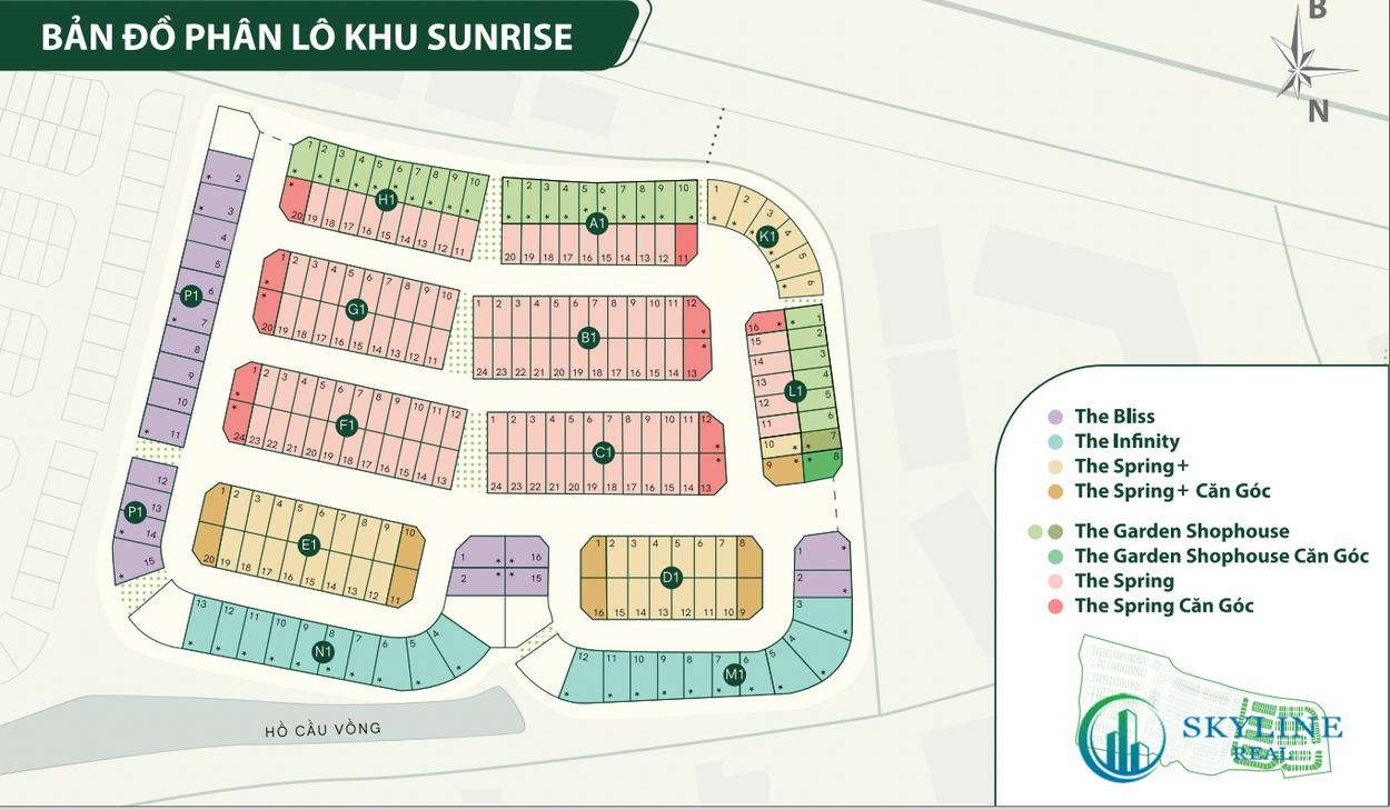 Bản đồ phân lô khu Sunrise